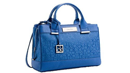 Calvin Klein womens logo jacquard city center zip carryall satchel shoulder bag handbag blue wave color