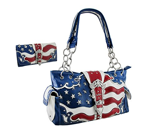 American Flag Rhinestone Buckle Concealed Carry Purse/Wallet Set
