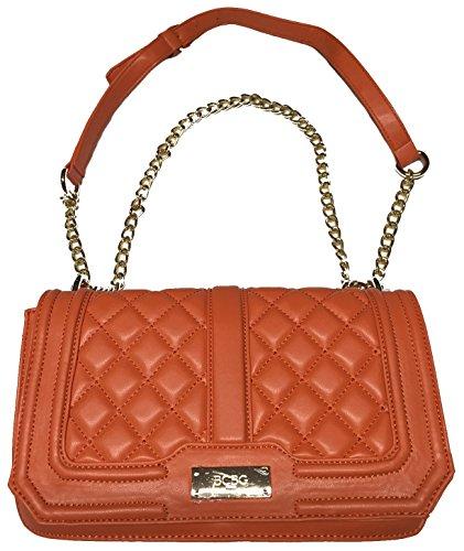 BCBG Paris Orange Quilted Chain Shoulder Bag