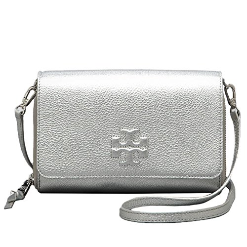 Tory Burch Thea Crossbody Bag Flat Wallet Silver