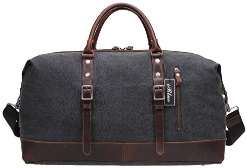 Weekend Bag Large Tote Travel Duffle Bags,Iblue Canvas Leather Shoulder Handbags 21 Inch #B003