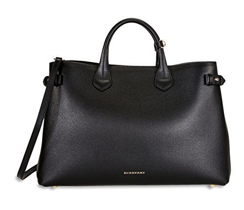 Burberry Large Banner Leather Tote – Black