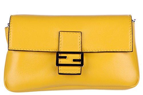 Fendi women's clutch handbag purse with shoulder strap original micro baguette yellow