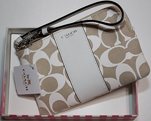 Coach Signature Corner Zip Small Wristlet with Leather