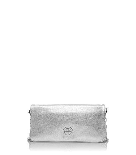 Tory Burch Reva Crossbody Clutch Adjustable Strap Shoulder Metallic Evening Handbag Silver