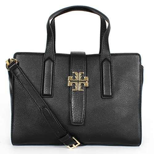Tory Burch Meyer Convertible Pebbled Leather Satchel Shoulder Bag Black