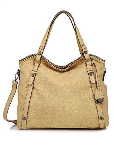 Jessica Simpson Lizzie Cross Body Tote Shoulder Bag, Beige
