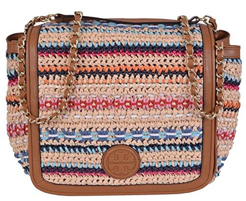 Tory Burch Women's Woven Marion Boho Flap Handbag
