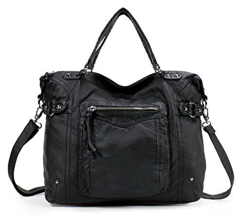 Scarleton Soft Washed Subtle Studded Shoulder Bag H1802