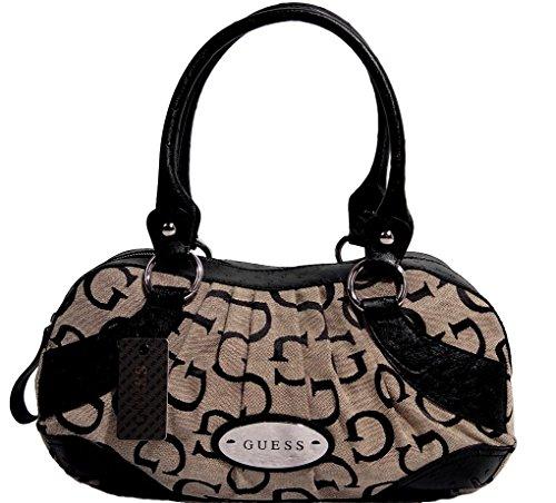 Guess Women's Harmony Ostrich Satchel Bag Handbag, Black / Beige