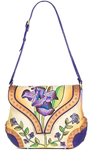 Mothers Day Gift Genuine Leather Handbag Shoulder Bag Hand Painted Cross Body Satchel