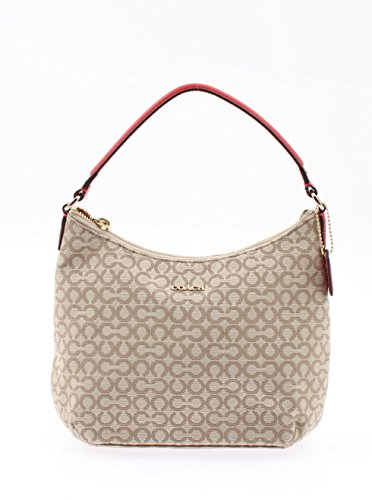 Coach Madison Needlepoint OP Art Fabric Top Handle Pouch in Khaki/Red 50521 LICBX