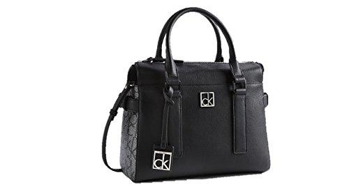 Calvin Klein womens cassidy logo satchel shoulder bag black color