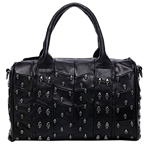 Heshe® Soft Ol Creation Leather Sheepskin Skull Studded Punk Evil Retro Simple Style Organizer Fashion Hobo Tote Top Handle Shoulder Cross Body Zippered Bag Buckets Messenger Satchel Purse Handbag for Women