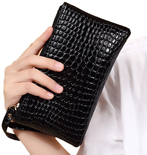 Josi Minea Stylish Snake Skin Glossy Leather Wristlet Clutch for Casual, Business & Evening Outing