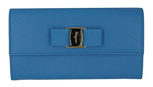 SALVATORE FERRAGAMO Sky Blue Saffiano Leather Vara Bow Wristlet Clutch Wallet