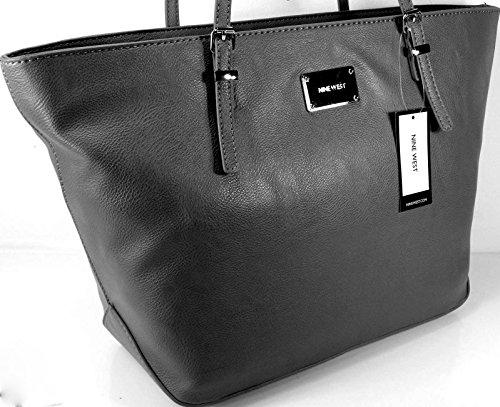 New Nine West Logo Purse XL Shoulder Hand Bag Tote It Girl Black Silver