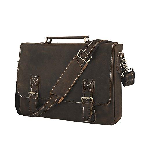 Smriti Vintage Crazy Horse Real Leather 16-Inch Laptop Messenger Bag Satchel Briefcase – Brown