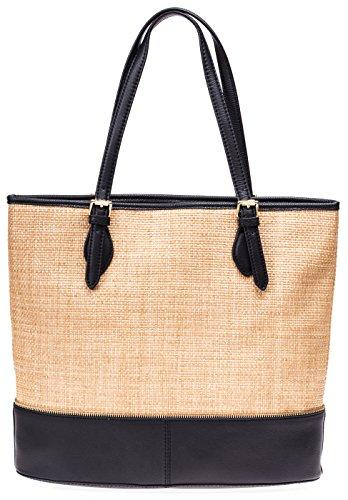 Isaac Mizrahi Designer Handbags: Straw/Leather Diana Beach Bag Tote