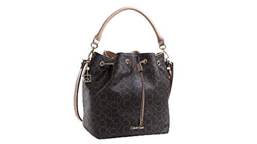 302b091424db Calvin Klein womens Jordan Brown Logo Drawstring Bucket Shoulder Bag