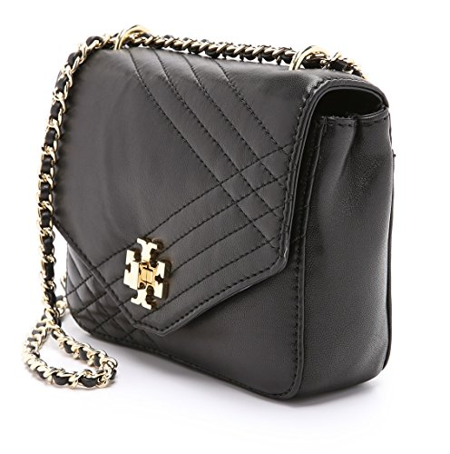 Tory Burch Mini Kira Quilted Crossbody Chain Black Leather