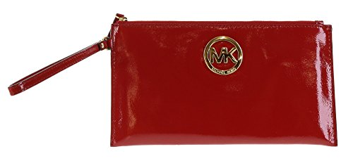 Michael Kors Fulton Large Red Patent Leather Top Zip Clutch & Wristlet
