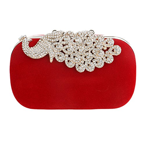 YourStyle Womens Peacock Clasp Red Evening Handbag Cocktail Clutch Purse
