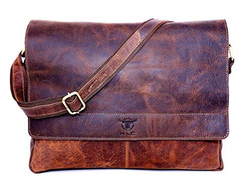hlc 16″ Leather Messenger Satchel Flap Over Laptop Buffalo Leather Vintage Look Genuine Leather Messenger Bag