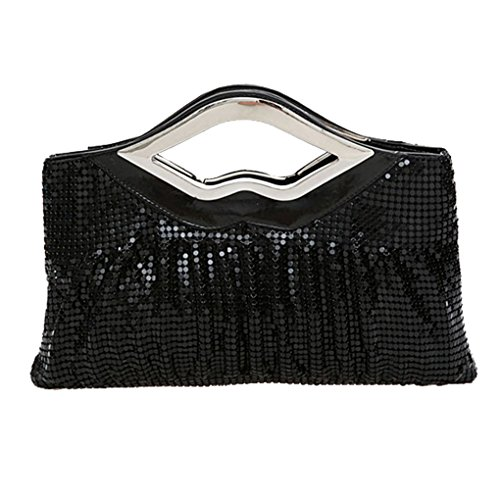 Smartstar Womens Fold Sequins Evening Party Purse Wallet Handbag – Black