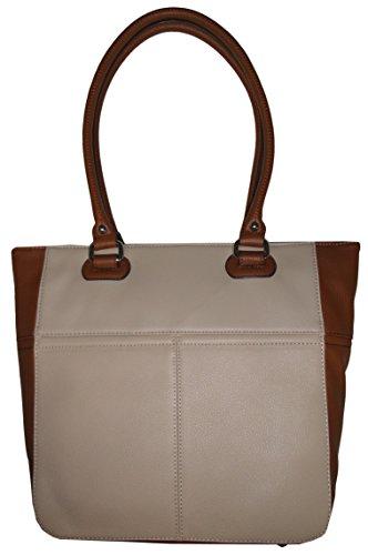 Tignanello Perfect Pockets Medium Leather Tote Sand/Cognac