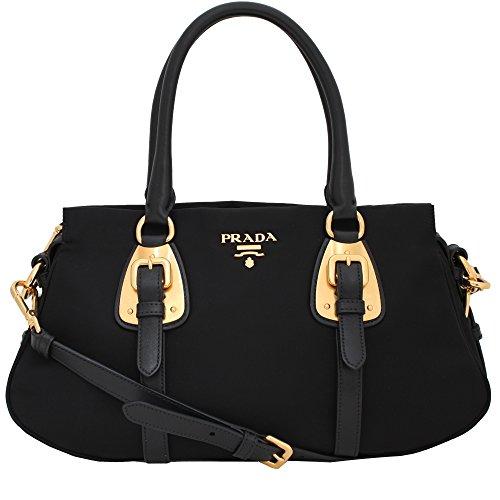 Prada Tessuto Black Nylon Leather Convertible Top Handle Satchel Bag Shoulder Handbag BN2864