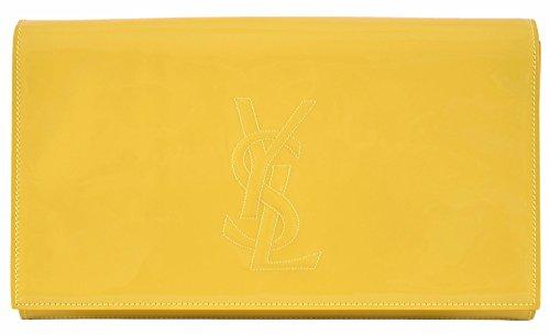 Yves Saint Laurent YSL Women's Yellow Patent Leather Large Belle de Jour Clutch