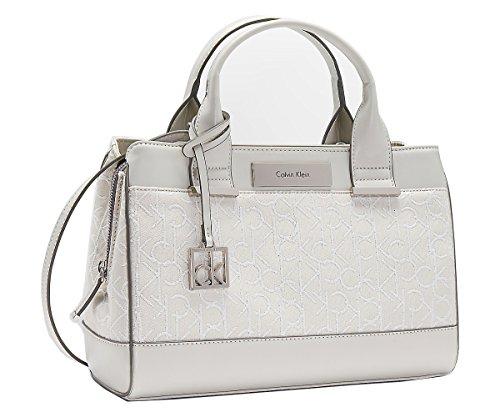 Calvin Klein Logo Jacquard City Center Zip Handbag Purse Bag (White)