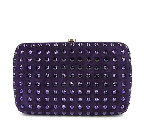 Gucci Purple Suede Broadway Evening Bag Crystal Clutch 310005