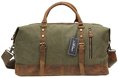 Iblue Oversized Canvas Leather Weekend Gym Tote Travel Duffel Bags Upgraded 21 Inch Shoulder Handbag#012031