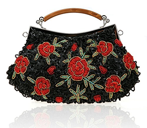 KEB1 Ladies' Antique Embroidered Seed Beaded Evening Bags Clutch Purse