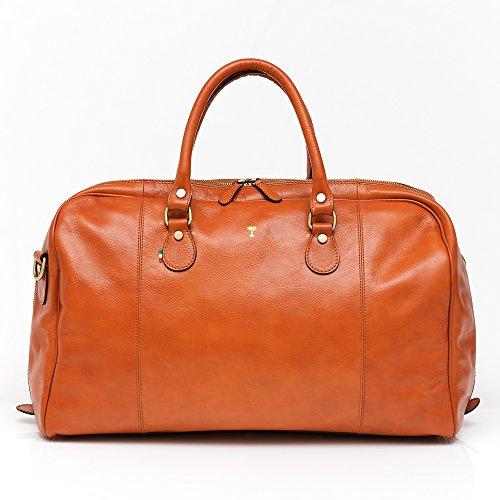 Charlie cognac unisex italian leather travel bag