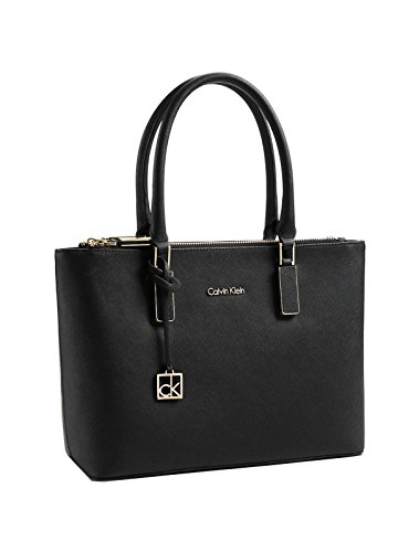 Calvin Klein Scarlett Double Zip Carry All Bag Handbag Black Tote Purse