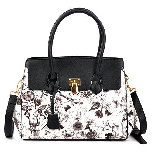 Dasein Floral Kiss-Lock Compartment Padlock Satchel Shoulder Bag