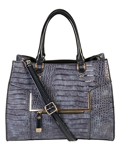 Rimen & Co. Animal Print Tote Womens Purse Handbag Accented Front Metal Zipper Top Handles with Removable Strap GM-2491 BM-2572