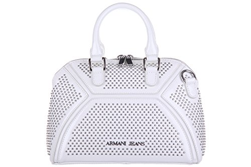 Armani Jeans women's leather handbag shopping bag purse studs crosta white