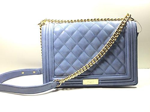 BCBG Matte Quilted Chain Shoulder Bag Infinity Blue B-0115