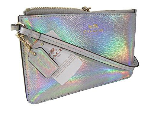 New Coach Signature Wristlet Bag Purse Leather Hologram Iridescent Color Change