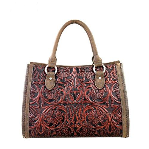 Delila Genuine Coffee 100% Leather Hand Tooled Satchel Handbag(A6016)