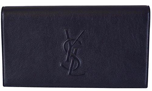 Saint Laurent YSL Women's Dark Blue Leather Large Belle de Jour Clutch Handbag