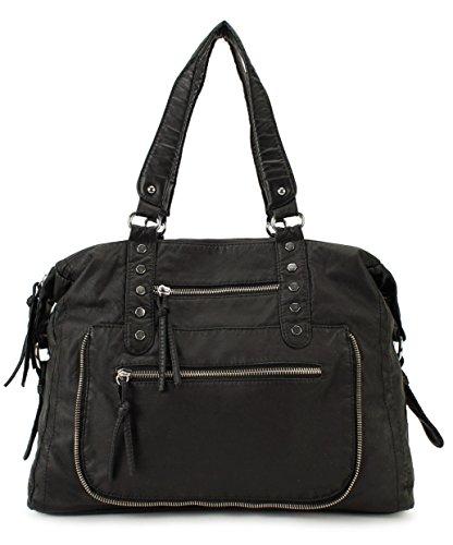 Scarleton Soft Washed Multi Zip Shoulder Bag H1715