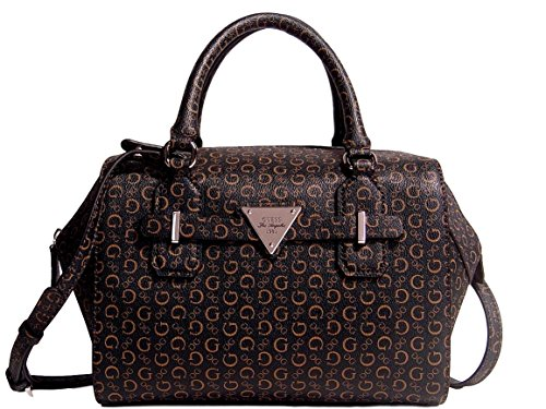 Guess Women's Huron Logo Box Satchel Bag Handbag, Brown / Natural