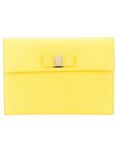 SALVATORE FERRAGAMO Woman's Vara Yellow Saffiano Leather Bow Mini Clutch Handbag