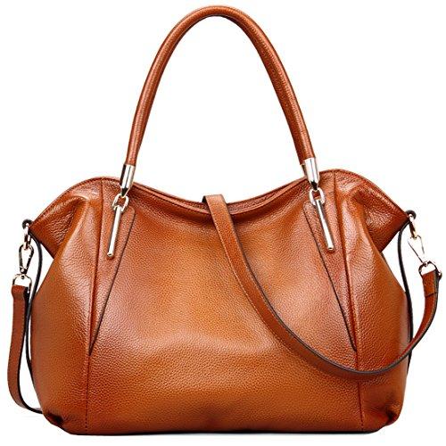 Heshe® Luxury New Fashion Women Soft Cowhide Leather Vintage Shoulder Bag Handbag Tote Top-handle Purse Cross Body Big Capacity Casual Simple Style