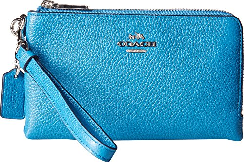 COACH Women's Polished Pebbled Double Corner Zip Sv/Peacock Clutch